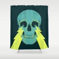 lightning Shower Curtains featuring Lightning Skull by Eyes Wide Awake