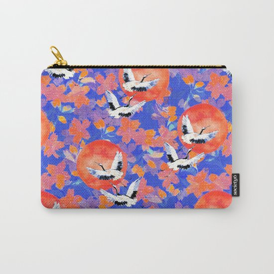Japanese Garden: Cranes, Sun and Blossoms LT Carry-All Pouch