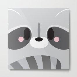 Racoon Block Metal Print
