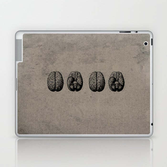 Row o' Brains - Engraving - Vintage - Old Black, White & Brown Laptop & iPad Skin