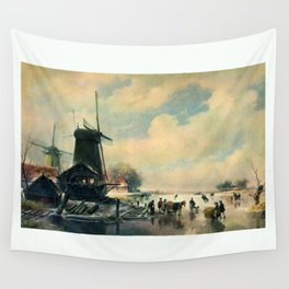 Winter scene in Holland, oil painting Wall Tapestry