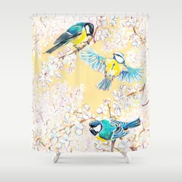 Eurasian tits Shower Curtain