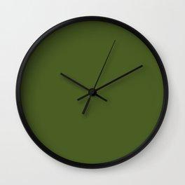 Dark Moss Green - solid color Wall Clock