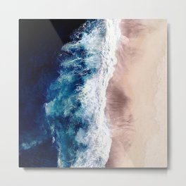 Ocean Wave on Sandy Beach Metal Print