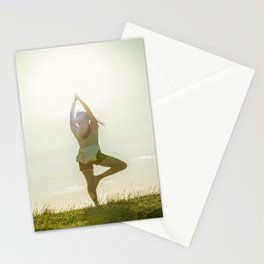 Yoga tree pose on a hill Stationery Cards