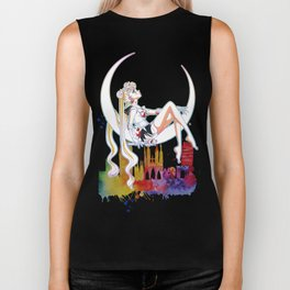 Can not Fight The Moonlight Watercolor Version Biker Tank