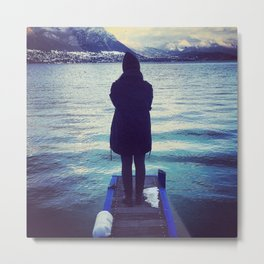 Dark Annecy Lake with her. Metal Print
