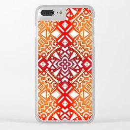 Tribal Tiles II (Red, Orange, Brown) Geometric Clear iPhone Case