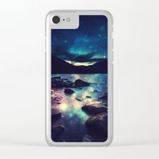 Magical Mountain Lake : Deep Pastels Teal Mauve Clear iPhone Case