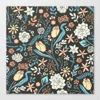 Tulip flowerbed, blue Canvas Print