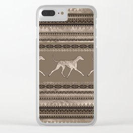 Azawakh Sighthound on African Pattern Clear iPhone Case