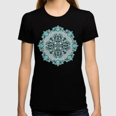 Teal and Aqua Lace Mandala on Grey Womens Fitted Tee MEDIUM Black