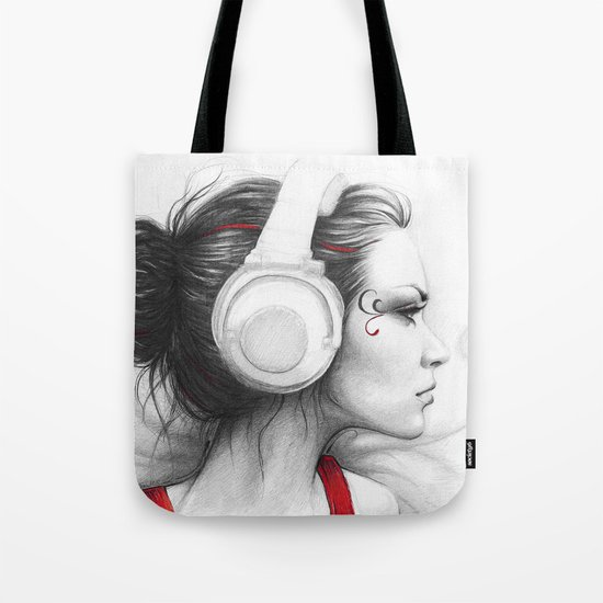 MUSIC Girl in Headphones Tote Bag