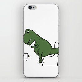 TRex dinosaur arms toilet funny gift iPhone Skin