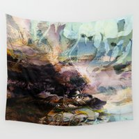 novelty Wall Tapestries featuring Morning Seashore Abstract by Moody Muse