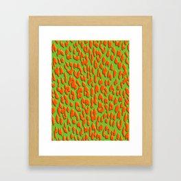 Bright Green & Orange Leopard Print Framed Art Print