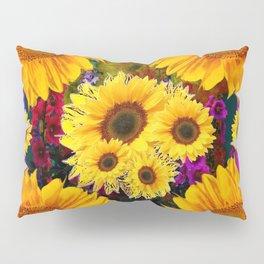 FUCHSIA PURPLE  & YELLOW  SUNFLOWERS ART Pillow Sham