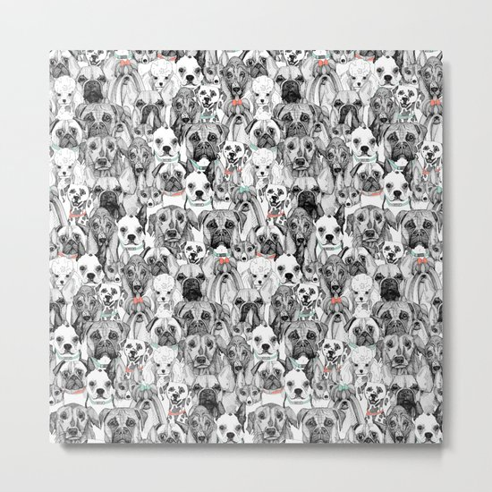 just dogs coral mint Metal Print