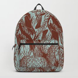 Duck Feather Back Graphic Teal and Brown Tile Backpack
