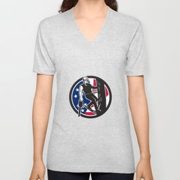 American Tree Surgeon USA Flag Icon Unisex V-Neck