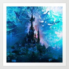 Blue Grunge Fairytale Fantasy Castle Art Print