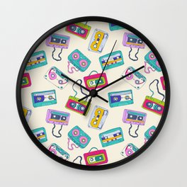 Vintage Cassette Tape Pattern Wall Clock