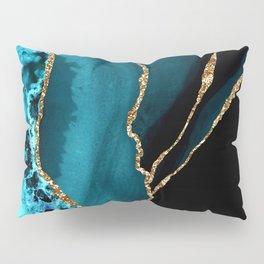 Teal Blue And Gold Glitter Sparkle Veins Agate Pillow Sham