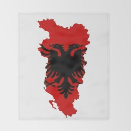 Albania Map with Albanian Flag Throw Blanket