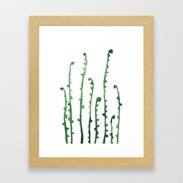 green fern watercolor Framed Art Print