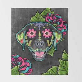 Labrador Retriever - Black Lab - Day of the Dead Sugar Skull Dog Throw Blanket