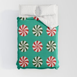 Striped Candy Mints in Christmas Colors Pattern Duvet Cover