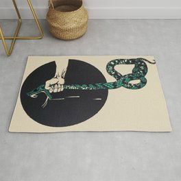 The strangling of a poisonous snake, representing the crushing colour lithograph G. Dorival 1918 Rug