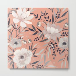 Modern, Foral Prints, Coral and Gray, Art for Walls Metal Print