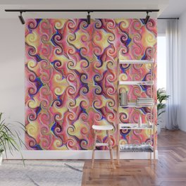 Colorful Seamless Wave Spiral Abstract Pattern Wall Mural