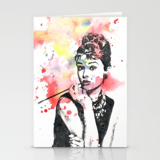 Audrey Hepburn Painting Stationery Cards