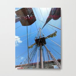 Mast and Line Rigging on El Galeon. Metal Print