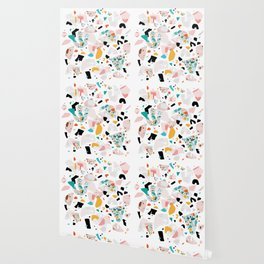 Mixed Mess I. / Collage, Terrazzo, Colorful Wallpaper