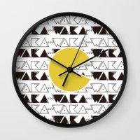 pac man Wall Clocks featuring · Pac Man · by Diana Fernanda Vélez