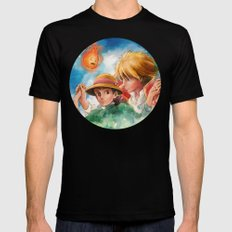 Sophie and Howl from Howl's Moving Castle Tra-Digital Painting MEDIUM Black Mens Fitted Tee