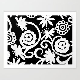 doiley flowers - black Art Print