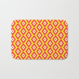 Navajo Native American Indian Burnt Orange Mustard Yellow and Red Clay Geometric Ethnic Southwestern Bath Mat