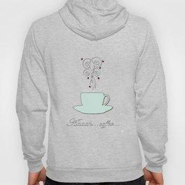 Aaah...coffee...  Retro / Vintage Coffee Print on Blush Background Hoody