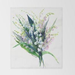 Lilies of the Valley Throw Blanket
