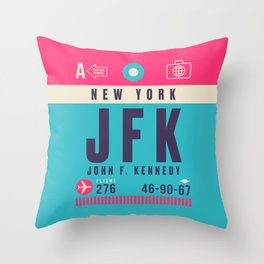 Retro Airline Luggage Tag - JFK New York Throw Pillow