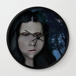 Mysterious Girl With A Long Neck. Wall Clock