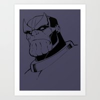 thanos Art Prints featuring Thanos by gamunev