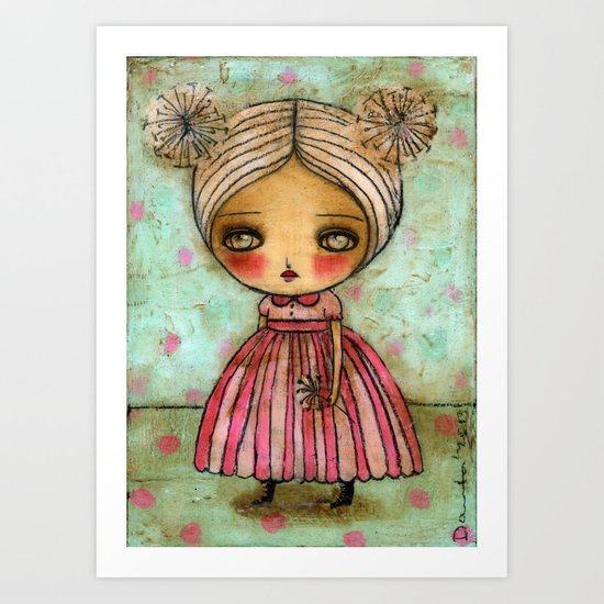Dandelion Girl in Red And Pink Art Print