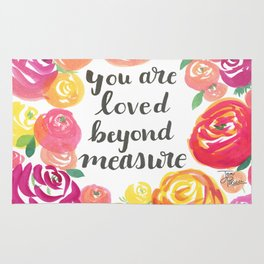 You Are Loved Beyond Measure Pink and Yellow Rose Field Rug