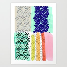 dots and color blocks Art Print