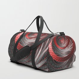 Beautiful Silver and Red Fractal Vampire Scales Duffle Bag